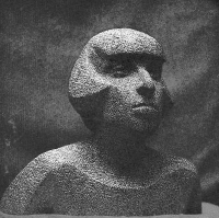 1976 «Портрет поэтессы Юнны Мориц» 45х50х40, гранит
